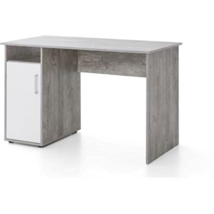 Serie Büro, Schreibtisch 125 x 60 cm, mit 1 Tür und 1 offenes Fach, Beton/Weiß Dekor - Bild 1