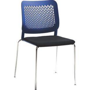 MAYER SITZMÖBEL Stapelstuhl mySITTEC, mit Sitzpolster blau/schwarz - Bild 1