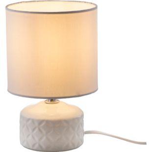 Nino Leuchten Tischleuchte JON, 1-flammig, Keramik Weiß, Schirm Weiß - Bild 1