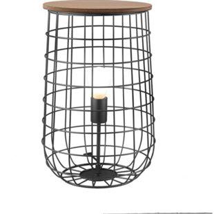 Nino Leuchten Tischleuchte SILA, 1-flammig, Draht Schwarz, Tischplatte Eiche, Durchmesser 25 cm - Bild 1