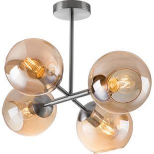 Nino Leuchten Deckenleuchte PILAR, 4-flammig, Nickel matt, Glas amber - Bild 1