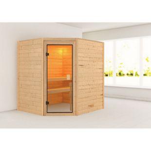 Woodfeeling Sauna Mia Set 1 mit Eckeinstieg, ohne Ofen - Bild 1