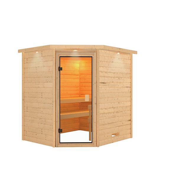 Woodfeeling Sauna Mia Set 2 mit Eckeinstieg, ohne Ofen - Bild 1