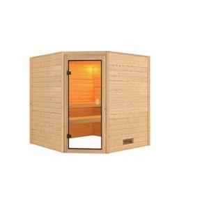 Woodfeeling Sauna Nina Set 1 mit Eckeinstieg, ohne Ofen - Bild 1