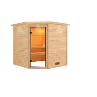 Woodfeeling Sauna Nina Set 2 mit Eckeinstieg, ohne Ofen - Bild 1