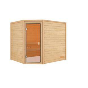 Woodfeeling Sauna Lisa Set 1 mit Eckeinstieg, ohne Ofen - Bild 1