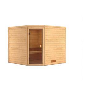 Woodfeeling Sauna Leona Set 1 mit Eckeinstieg, ohne Zubehör - Bild 1