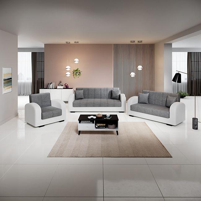 Inter Handels Sofa Garnitur Atlanta, weiß/anthrazit - Bild 1