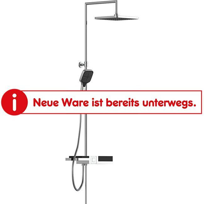 Schütte Überkopf-Brauseset Blueperl Chrom/Schwarz, mit Ablage - Bild 1