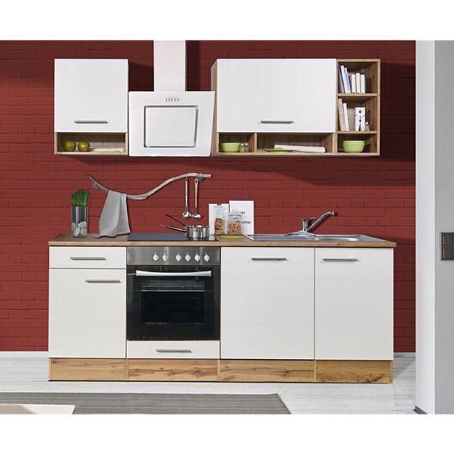 Respekta Küchenprogramm Wildeiche Nachbildung Küchenzeile 220 cm inkl. E- Geräte & Mineralite Einbauspüle, weiß - Bild 1