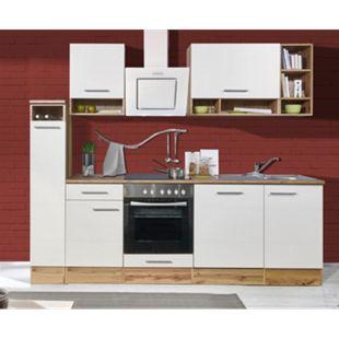 Respekta Küchenprogramm Wildeiche Nachbildung Küchenzeile 250 cm inkl. E- Geräte & Mineralite Einbauspüle, weiß - Bild 1