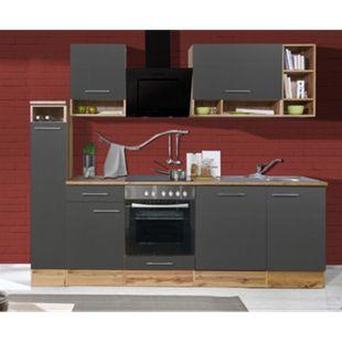 Respekta Küchenzeile BEKB250EGCB 250 cm, Wildeiche Nachbildung, inkl. E- Geräte & Mineralite Einbauspüle, grau - Bild 1