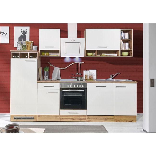 Respekta Küchenprogramm Wildeiche Nachbildung Küchenzeile 280 cm inkl. E- Geräte & Mineralite Einbauspüle, weiß - Bild 1