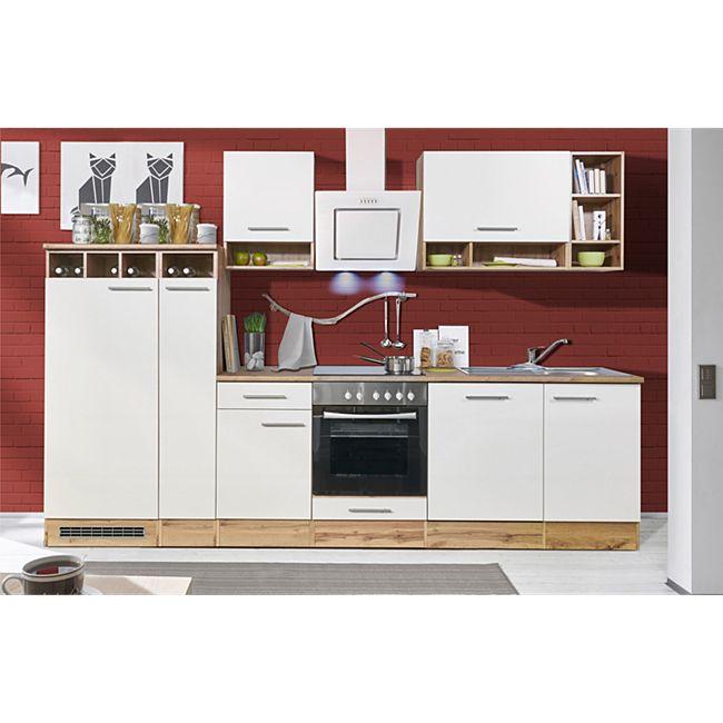 Respekta Küchenprogramm Wildeiche Nachbildung Küchenzeile 310 cm inkl. E- Geräte & Mineralite Einbauspüle, weiß - Bild 1