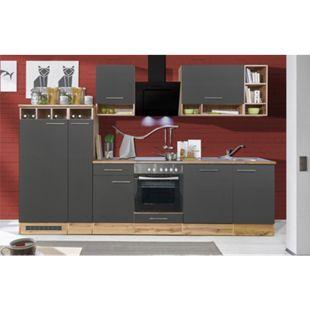 Respekta Küchenzeile BEKB310EGCB 310 cm, Wildeiche Nachbildung, inkl. E- Geräte & Mineralite Einbauspüle, grau - Bild 1