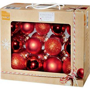 Dekor Weihnachtskugeln aus Echtglas, 26-tlg. - rot - Bild 1