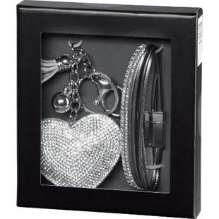 Damen Geschenkset - Schlüsselanhänger in Herzform, silber + Leder-Imitat-Armband mit Strasssteinen - Bild 1