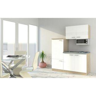 Respekta Economy Küchenzeile KB160ESWMI 160 cm, Weiß mit Mikrowelle - Bild 1