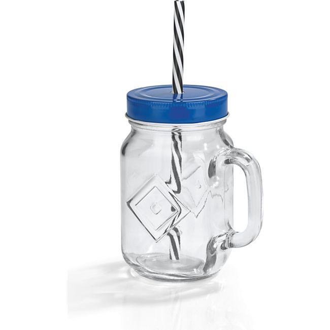 HSV Trinkglas 450ml mit Strohhalm - Bild 1