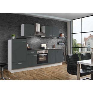 Menke Küchen Küchenzeile White Classic 270 cm, graphitfarben - Bild 1