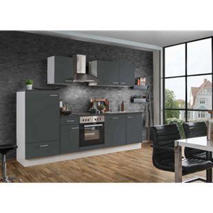 Menke Küchen Küchenzeile White Classic 270 cm, inkl. Geschirrspüler - graphitfarben - Bild 1
