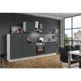 Menke Küchen Küchenzeile White Classic 300 cm, graphitfarben - Bild 1