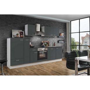 Menke Küchen Küchenzeile White Classic 300 cm, inkl. Geschirrspüler - graphitfarben - Bild 1