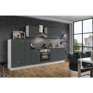 Menke Küchen Küchenzeile White Classic 310 cm, inkl. Geschirrspüler - graphitfarben - Bild 1