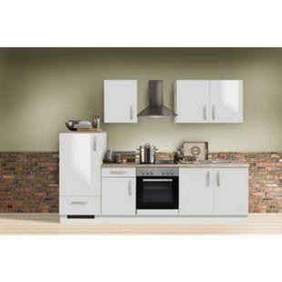 Menke Küchen Küchenzeile White Premium 270 cm, Weiß Hochglanz - Bild 1