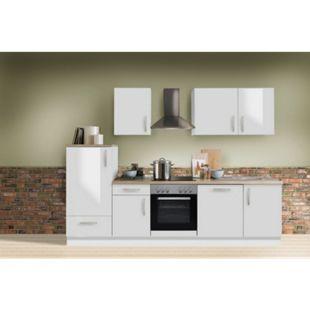 Menke Küchen Küchenzeile White Premium 280 cm, inkl. Geschirrspüler - weiß Hochglanz - Bild 1