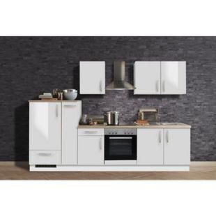 Menke Küchen Küchenzeile White Premium 300 cm, weiß Hochglanz - Bild 1