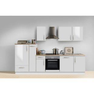 Menke Küchen Küchenzeile White Premium 300 cm, inkl. Geschirrspüler - weiß Hochglanz - Bild 1