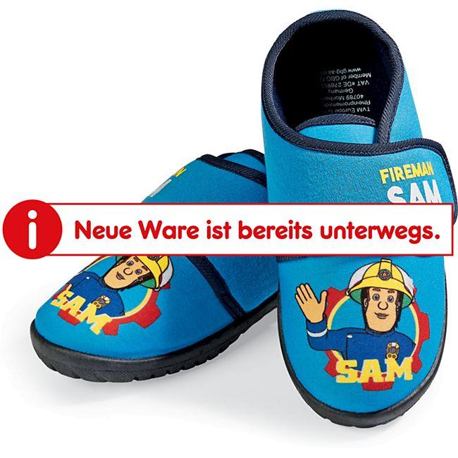 Kinder Hausschuhe für Jungen und Mädchen in verschiedenen Designs und Größen - Feuerwehrmann Sam - blau, Gr. 25/26 - Bild 1