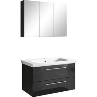 Inter Handels Badmöbel Set NEAPEL, 2 tlg. - Spiegelschrank Waschbeckenschrank 80 cm, Hochglanz Schwarz - Bild 1