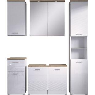 Inter Handels Badmöbel Set PRAG, 5 tlg. - Spiegelschrank Waschbeckenschrank, glänzend Weiß - Bild 1