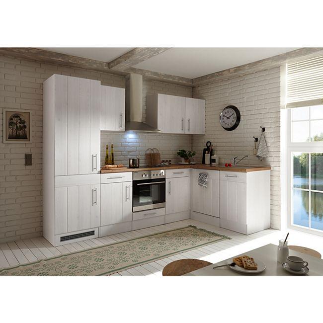 Respekta Premium Winkelküche Landhaus, 280 cm x 172 cm, Lärche Weiß Nachbildung - Bild 1