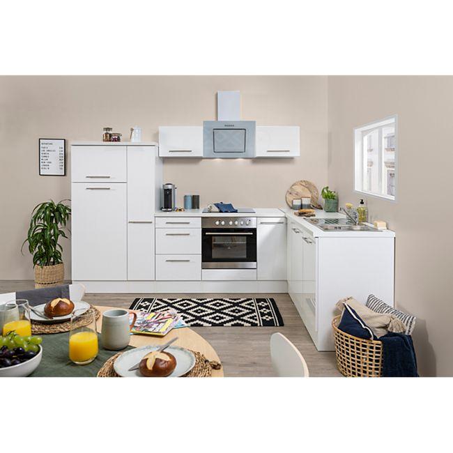 Respekta Premium L-Küchenblock, Korpus Weiß, 290 x 200 cm - Fronten Weiß Hochglanz - Bild 1