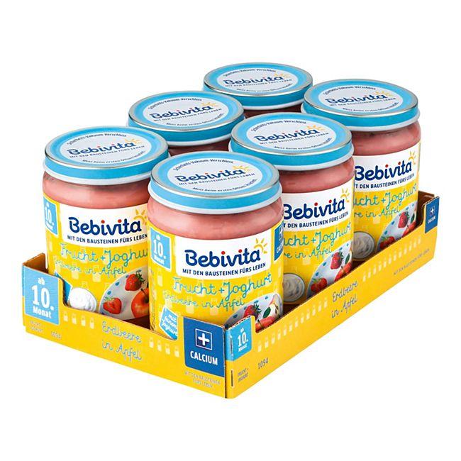 Bebivita Frucht & Joghurt Erdbeere in Apfel 190 g, 6er Pack - Bild 1