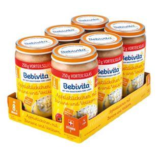 Bebivita Früchtegläschen Apfelstückchen mit Banane und Vollkorn 250 g, 6er Pack - Bild 1