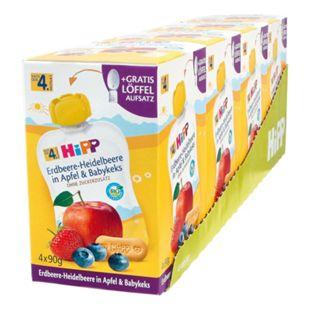 HiPP Bio Quetschen Erdbeere-Heidelbeere nach dem 4. Monat, 360 g, 4er Pack - Bild 1