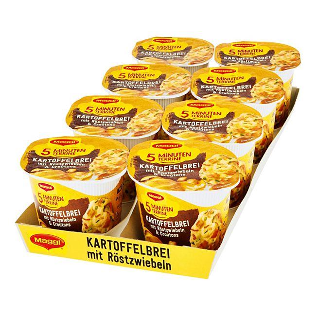 Maggi 5 Minuten Terrine Kartoffelbrei mit Röstzwiebeln 56 g, 8er Pack - Bild 1