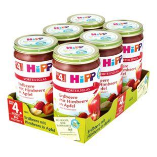 HiPP Bio Erdbeere mit Himbeere in Apfel 250 g, 6er Pack - Bild 1