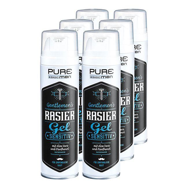 Pure & Basic Men Rasiergel Sensitiv 200 ml, 6er Pack - Bild 1