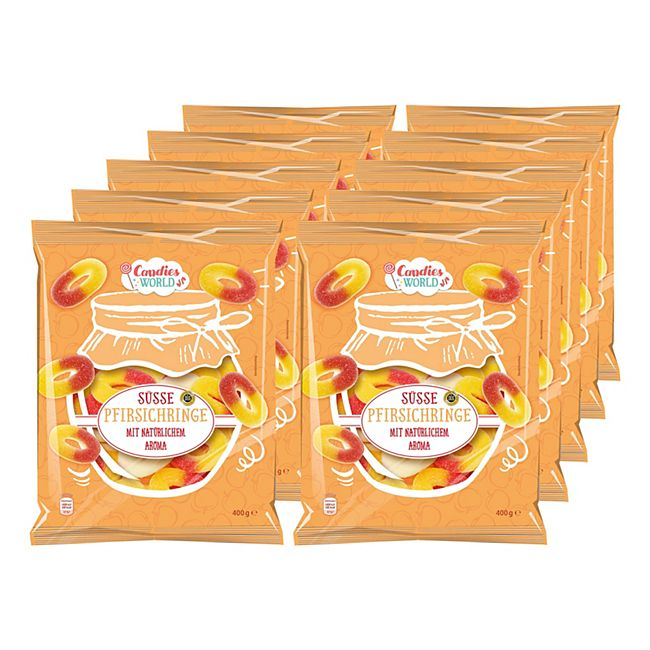 Candies World süsse Pfirsichringe 400 g, 10er Pack - Bild 1