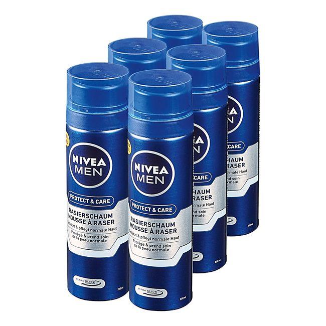 Nivea Men Rasierschaum Protect & Care 200 ml, 6er Pack - Bild 1