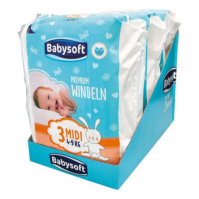 Babysoft Premium Windel Größe 3 Midi 45 Stück, 3er Pack - Bild 1
