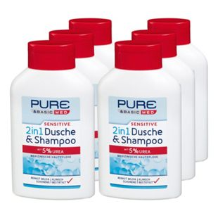 Pure & Basic med sensitive 2in1 Dusche & Shampoo 300 ml, 6er Pack - Bild 1