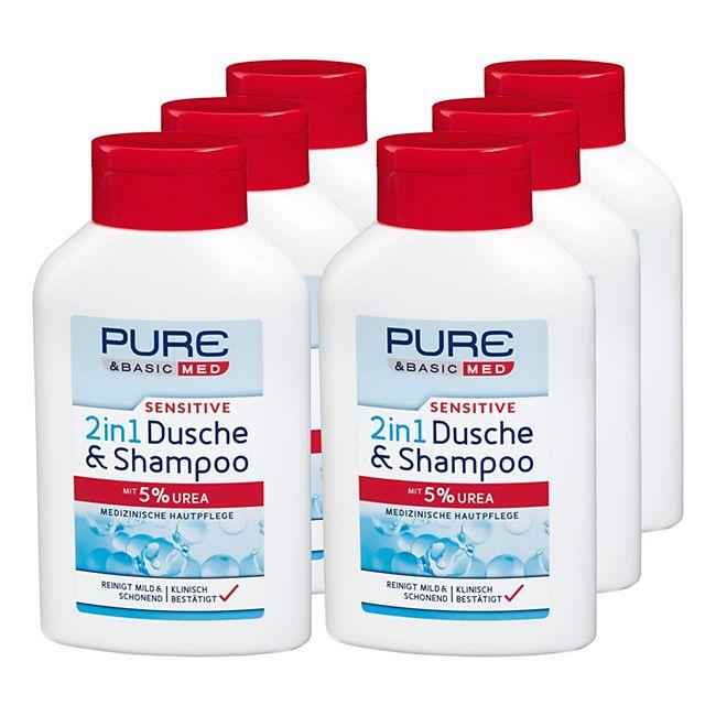 Pure & Basic med sensitive 2in1 Dusche & Shampoo 300 ml, 6er Pack - Bild 1