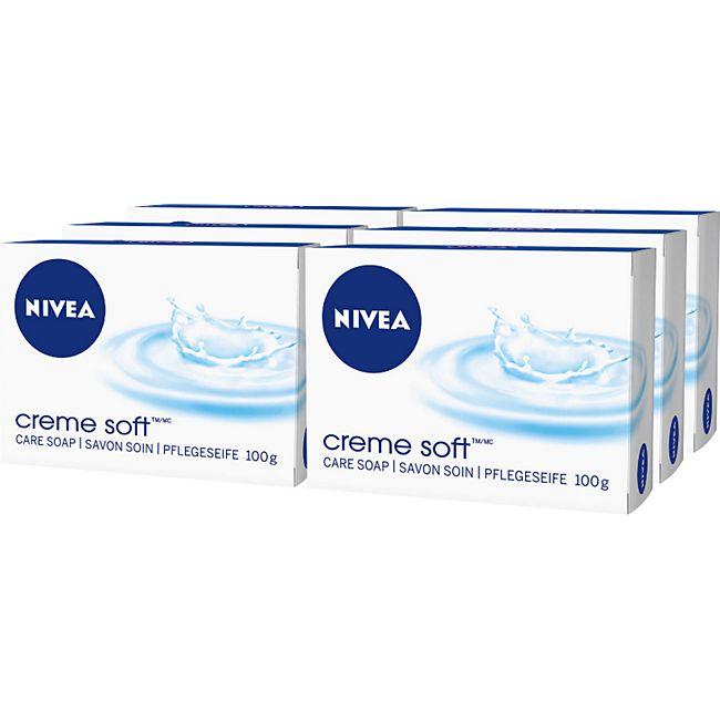 NIVEA Seife Creme Soft 100 g, 6er Pack - Bild 1