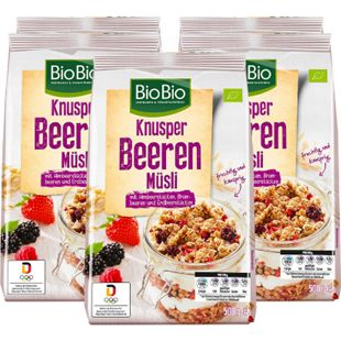BioBio Knusper Müsli Beere 500 g, 5er Pack - Bild 1